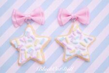 Baby Pastel Candy Sprinkle Cookie Biscuit Bow Pink Cute Earrings Dreamy