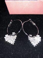 Betsey Johnson Love Heart Solver Crystal Earrings Bling Gift Box