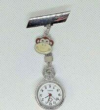 MONKEY metal charmed Watch nurse fob pin uniform pocket BROOCH animal