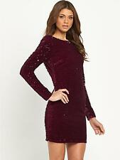 BNWT Lipsy Maroon All Over Sequin Bodycon Evening Occasion Dress Size 8 NEW