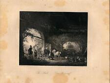 Stampa antica STALLA CON CAVALLI GALLI E GALLINE CAPRE 1850 Old antique print