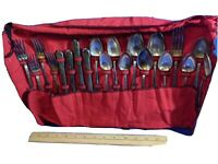 WM A ROGERS A1 PLUS ANTIQUE ART DECO FLATWARE SET LOT SILVER-PLATE VTG CASE BAG