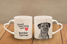 "Border Terrier - ceramic cup, mug ""Good morning and love, heart"", Usa"