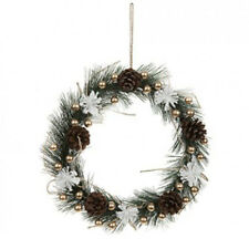 26CM Christmas Gold Pine & Berry Wreath white flowers Chic Home Hanging