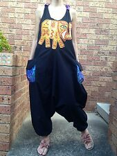 Women's Summer Racer Back Black Casual Dungarees Jumpsuit Size 8-10-12-14 NEW