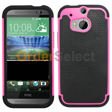 NEW Hybrid Rubber Case for Sprint Verizon AT&T Phone HTC One M8 Hot Pink 50+SOLD