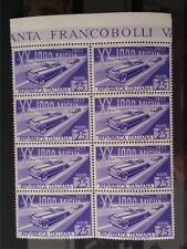 1953 ITALIA Blocco di 8 - 25 lire XX corsa automobilis delle mille miglia MNH **
