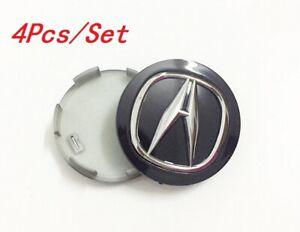 4x Wheel Emblem Hub Center Cap 69mm Badge Black For ACURA² TL MDX  RL RDX TSX