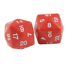 Two 24 Sided Jumbo Polyhedral Red & White Dice Organza Bag