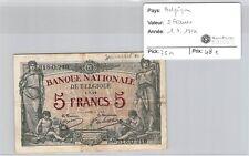 BILLET BELGIQUE - 5 FRANCS - 1.7.1914