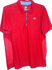 The North Face Mens Large Flash Dry 1/2 Zip Polo Short Sleeve Shirt Red