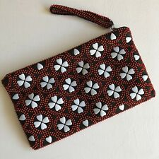 Vintage Unused Beaded Clutch/Make Up Bag Made In Hong Kong 60's/70's retro