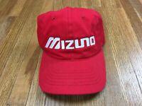Mizuno Adjustable Strapback Hat Baseball Golf OS Dad Cap Red White Embroidered