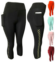 Women Compression Fitness Yoga Gym Workout Active Capri Leggings Pants 2 Pockets
