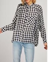 Womens Gingham Check Shirt with One Pocket Button-up Long Sleeves NEW Navy/White