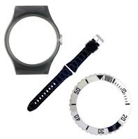 VIBE Large Transparent Grey Case, Black Strap & Metal Silver Bezel [PACK L112]