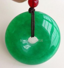 Chinese Natural Green Jade Hand-carved Harmony Lucky Pendant + Rope Necklace0772