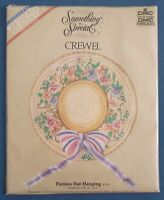DMC FRENCH COUNTRY COLLECTION PANSIES HAT BONNET CREWEL NEEDLEWORK KIT UNUSED