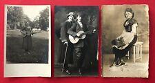3 x Privat Foto AK 1919/23 Typen mit Gitarre und Zupfinstrument       ( 94037