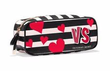 NWT VICTORIA'S SECRET BLACK & WHITE STRIPE HEARTS ESSENTIAL COSMETIC BAG TRAVEL