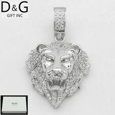 DG Men's 925 Sterling Silver CZ Iced-Out 33x20mm Small Charm Pendant**BOX