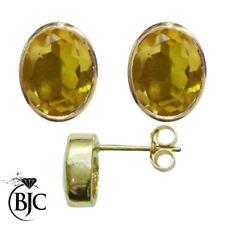 Ovale echte-Ohrschmuck aus Gelbgold mit Citrin Edelsteinen