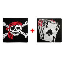 Coppia polsini teschio bandana + carte da gioco spugna gruppi rock e bandiere