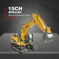 HUINA 1550 1:14 15CH Metal Remote Control Excavator RC Engineering Truck Crawler