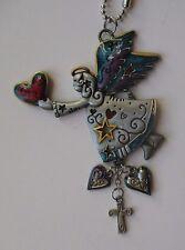G Flying Angel holding heart cross Car Mirror Charm ornament color ganz