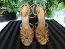 Bisou Bisou Michele Bohbot 7.5M strappy heels tan & brown braided straps