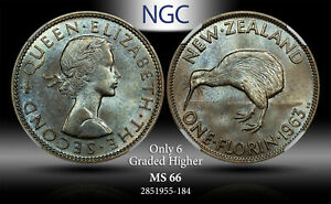 1963 NEWZEALAND 1 FLORIN NGC MS 66 ONLY 6 GRADED HIGHER  TONED