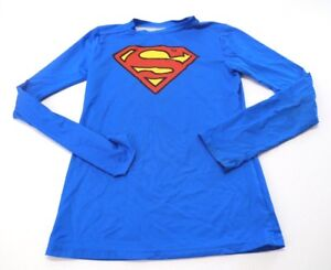 Under Armour Kid's Boy's Fitted Heat Gear Superman Shirt Blue Size YLG