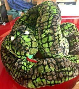 Rare~Chosun Intl.~Coiled Snake Plush Stuffed Anaconda Viper Green 10'+ Jumbo