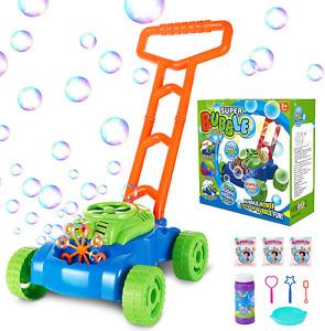 Bubble Lawn Mower Automatic Bubble Maker Blower Machine With Bubble Solution NEW