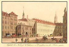 Dresden - SCHLOSS & SCHLOSSGASSE - J.C.A. Richter - kol. Umrissradierung 1820