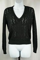Beldoch Popper Size M Black Long Sleeve Knit Sweater Vintage