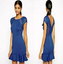 Sz 8 10 Blue Skater Cap Sleeve Lace Formal Cocktail Party Dance Mini Dress