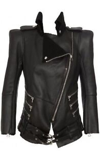 10k Gorgeous Authentic Balmain Black Shearling Zip Biker Jacket Blazer Size 40