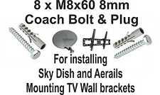 8 x M8X60 8mm Coach Bolt & Plugs Installing Sky Dish, Aerials, TV Wall Brackets