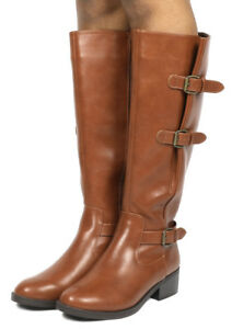 TOETOS Women Ladies Faux Leather Combat Casual Pull On Knee High Riding Boots
