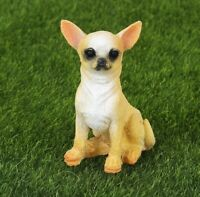 """Chihuahua Dog Hand-Painted Resin Figurine/Statue, 2.56"""" Tall, Sitting Down"""
