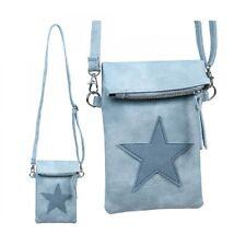 Damen Tasche Umhängetasche Clutch Handy Stern Blau Kunstleder