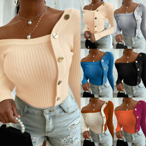 Womens Off Shoulder Knitted Tops Long Sleeve Jumper Winter Sweater Slim Blouse