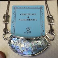 Superb Or PAZ Creations Large ROMAN GLASS Pendant STERLING Silver NECKLACE QVC