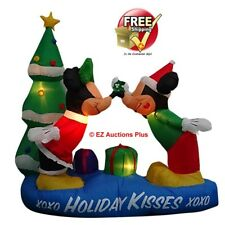 5-1/2 Foot Tall Inflatable Lighted Airblown Mickey and Minnie w/ Mistletoe Scene