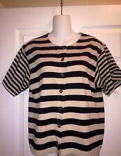 Dressbarn Brown Black Stripe Cardigan Button Down Shirt Size M