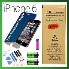 BATTERIA NUOVA MAGGIORATA PER APPLE iPhone 6 2850 mAh 0 CICLI + KIT + GLASS