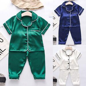 Toddler Kids Baby Boys Girls Solid Satin Tops+Pants Pajamas Sleepwear Outfits