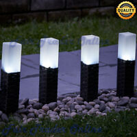 SOLAR POWER GARDEN RATTAN STYLE LIGHT WHITE LED OUTDOOR PATHWAY PATIO LIGHTS NEW