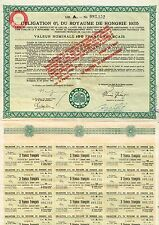 KINGDOM OF HUNGARY BOND 1925 stock certificate W/COUPONS